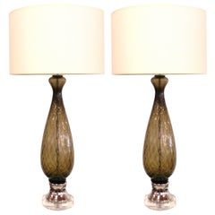 Pair of Italian Grey Glass Table Lamps