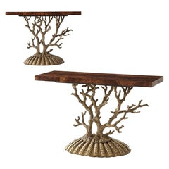 Pair of Italian Grotto Console Tables
