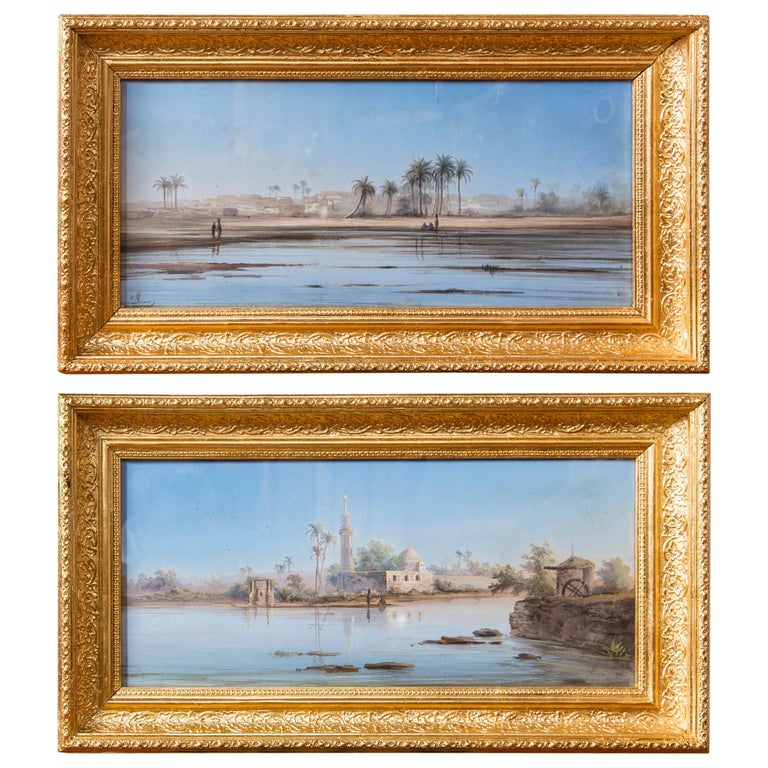 Pair of Italian Guaches of North African, 'Possibly Egyptian' Scenes For Sale