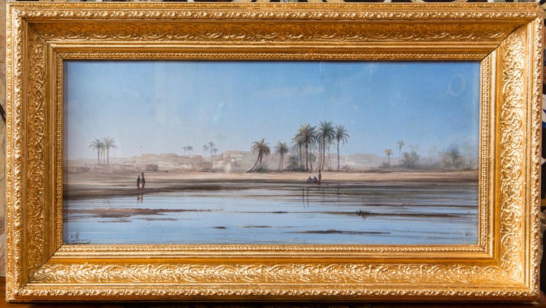 Hand-Painted Pair of Italian Guaches of North African, 'Possibly Egyptian' Scenes For Sale