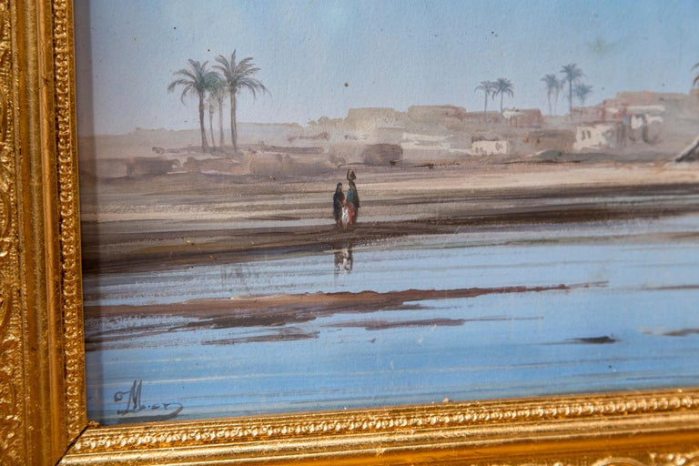 Pair of Italian Guaches of North African, 'Possibly Egyptian' Scenes In Good Condition For Sale In Woodbury, CT
