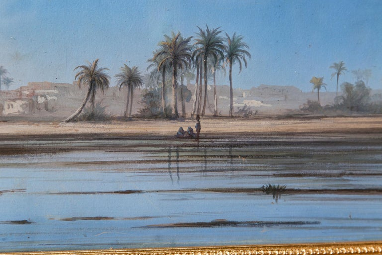 Paint Pair of Italian Guaches of North African, 'Possibly Egyptian' Scenes For Sale