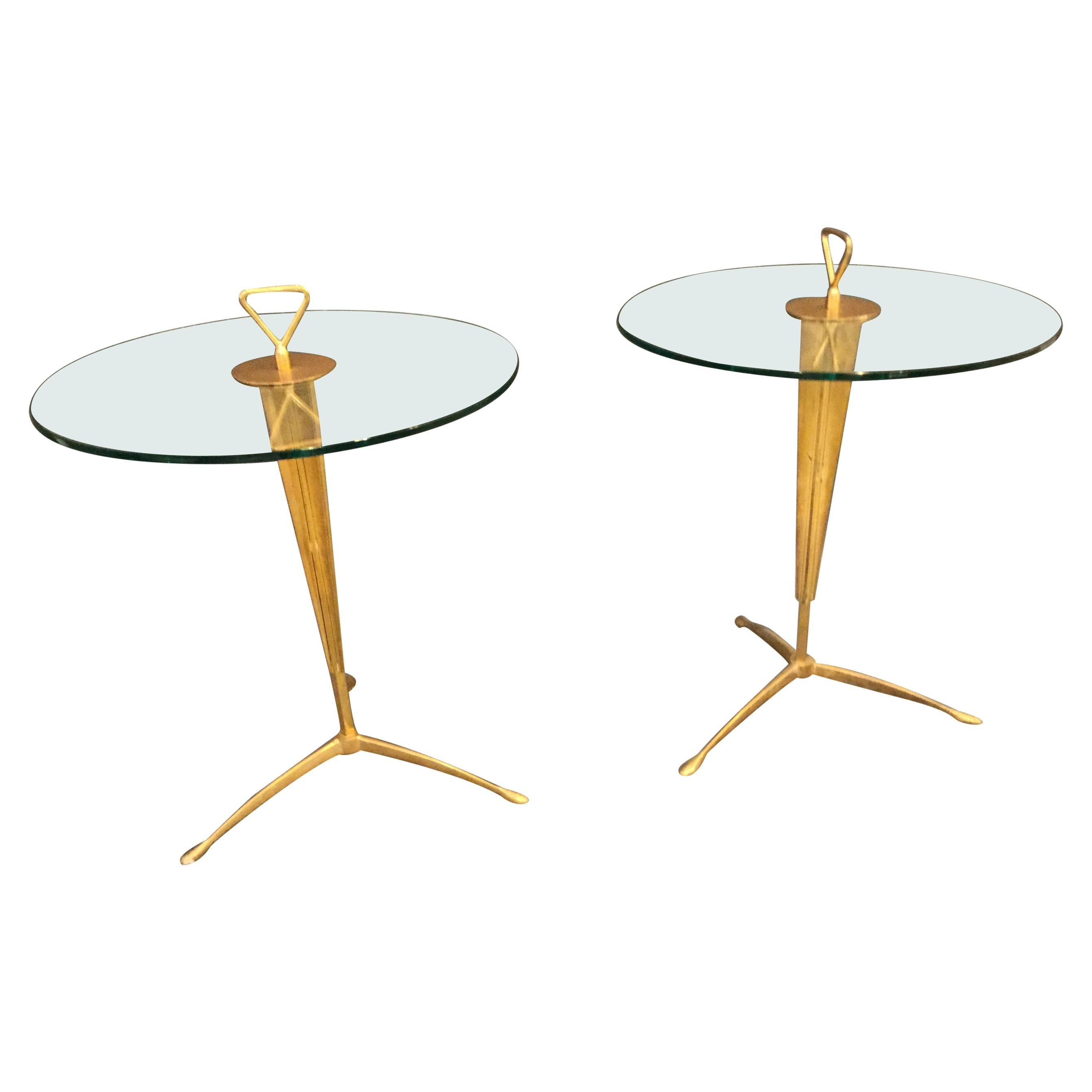 Pair of Italian Gueridon Round Side Table