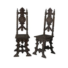 Pair of Italian Hall Chairs with Bone Inlay, circa 1860