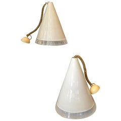 Pair of Italian Hand Blown Murano Glass Pendant Lamps by Renato Toso for Leucos