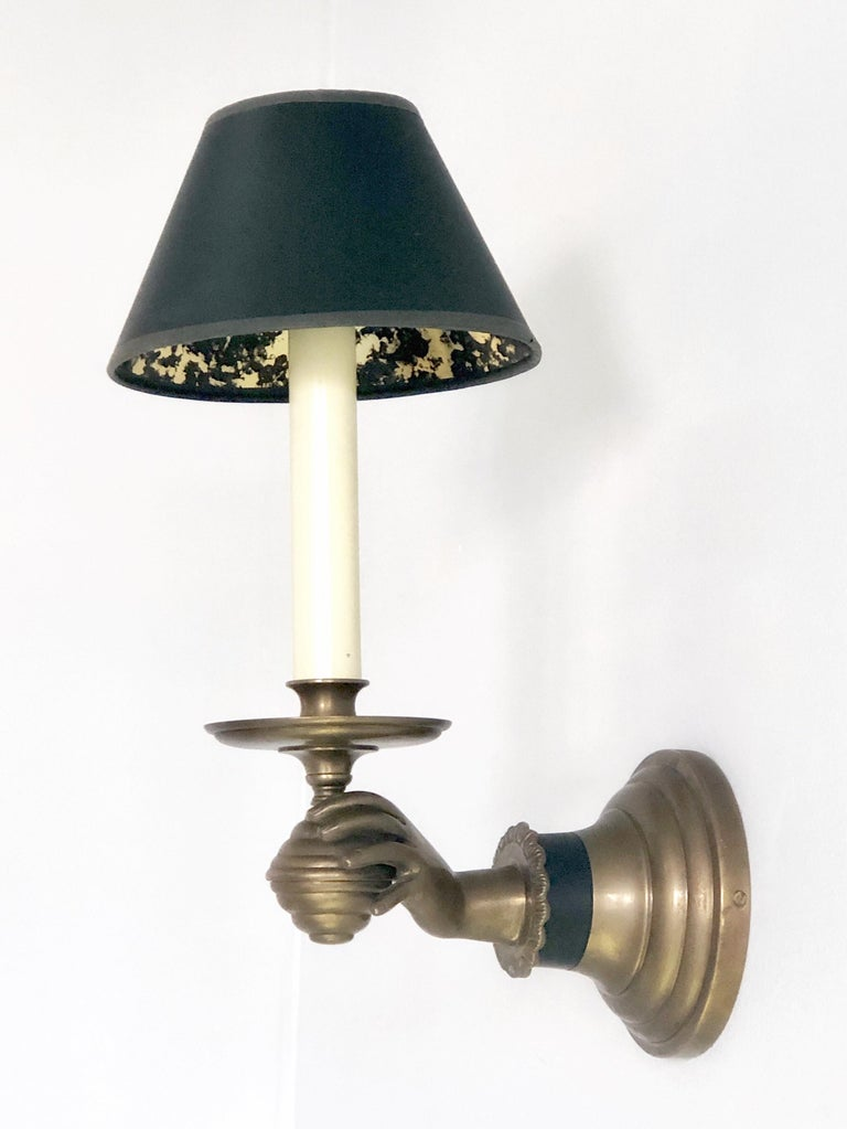 Pair of Italian Hand Brass Sconces, 1960s In Good Condition For Sale In Miami, FL
