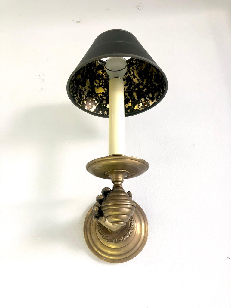 Pair of Italian Hand Brass Sconces, 1960s For Sale 5