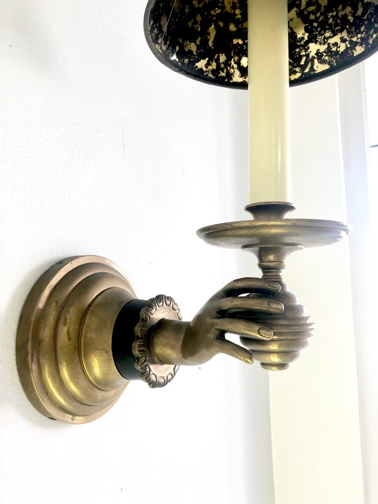 Pair of Italian Hand Brass Sconces, 1960s For Sale 6