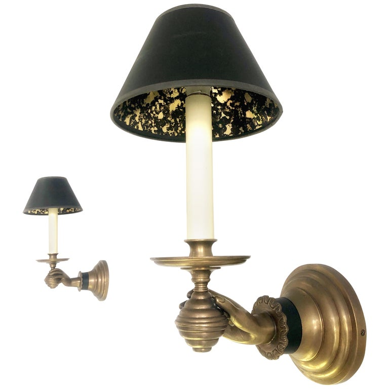 Pair of Italian Hand Brass Sconces, 1960s For Sale