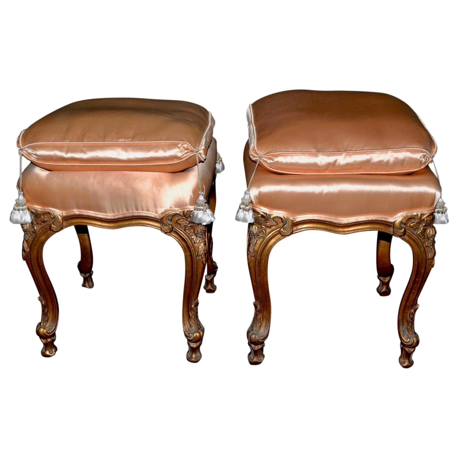 Pair of Italian Hand Carved and Silk Upholstered Ottomans, circa 1950s