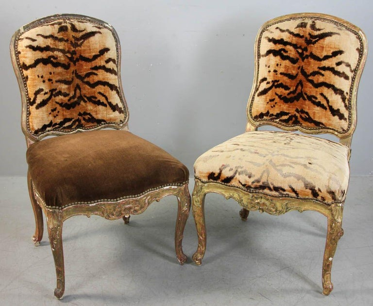 Pair of Italian Hand Carved Florentine Gilt Chairs In Fair Condition For Sale In South Hamilton, MA