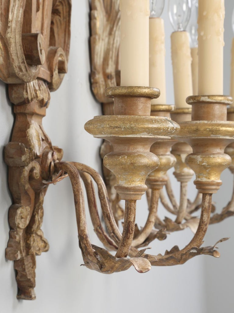 Pair of Italian Hand Carved Wooden Sconces with Gold and Silver Leaf Accents For Sale 9