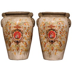 Pair of Italian Hand Painted Ceramic Vases with Wheat and Fruit Decor