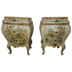 Pair of Italian Hand Painted Chinoiserie Chests, circa 1920