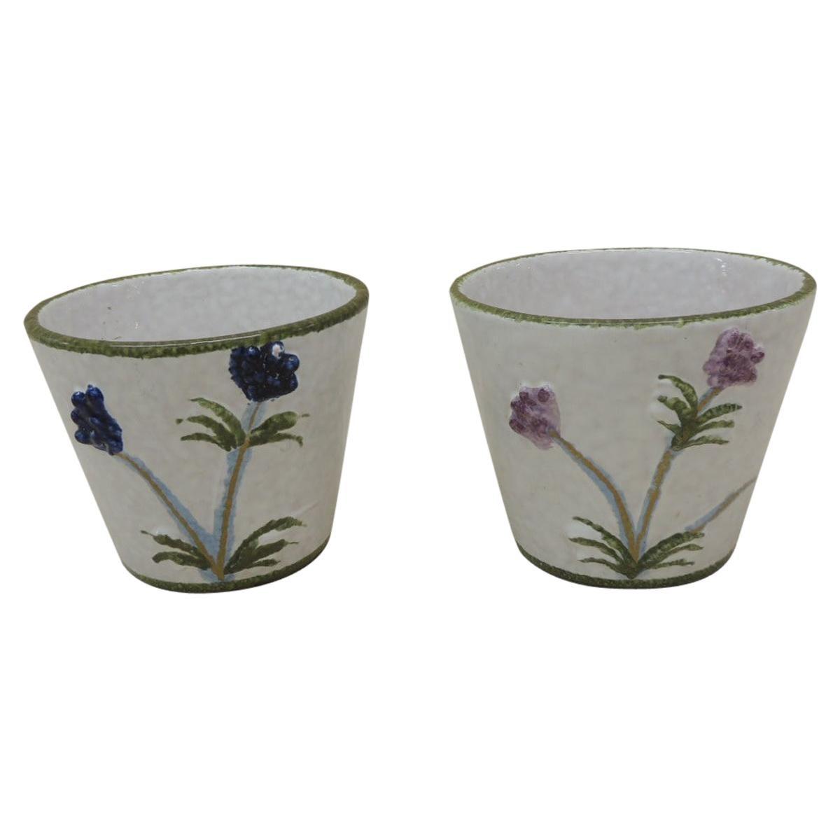 Pair of Italian Hand Painted Round Decorative Planters