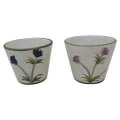 Pair of Italian Hand Painted Round Decorative Planters
