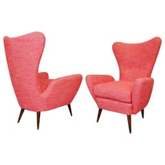 Pair of Italian High Back Armchairs 1950, Attributed Paolo Buffa, New Upholstery