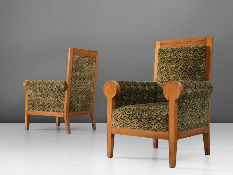 Set of two armchairs, in beech and fabric, Italy, 1950s.