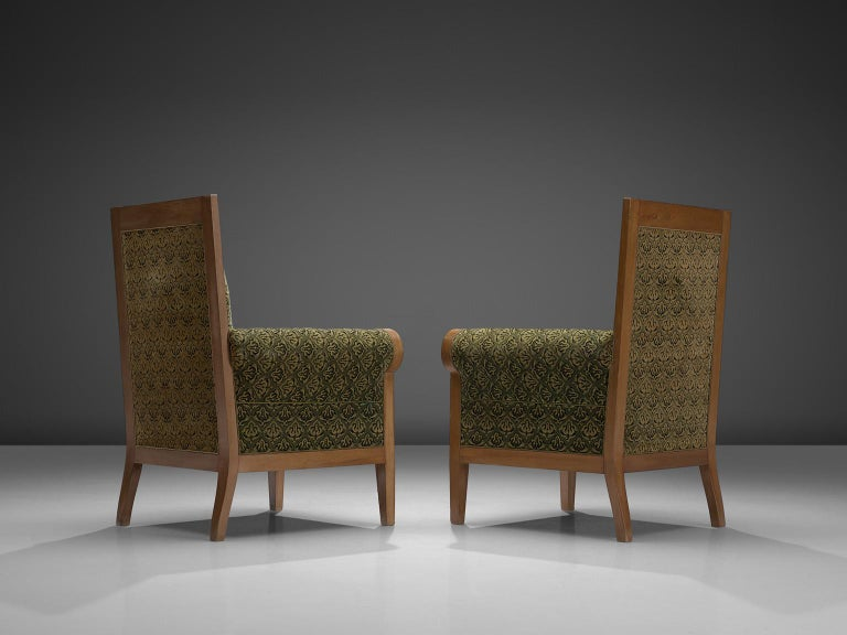 Pair of Italian High Back Armchairs in Green Fabric Upholstery In Good Condition For Sale In Waalwijk, NL