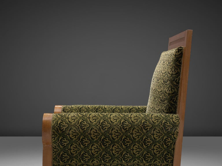 Mid-20th Century Pair of Italian High Back Armchairs in Green Fabric Upholstery For Sale