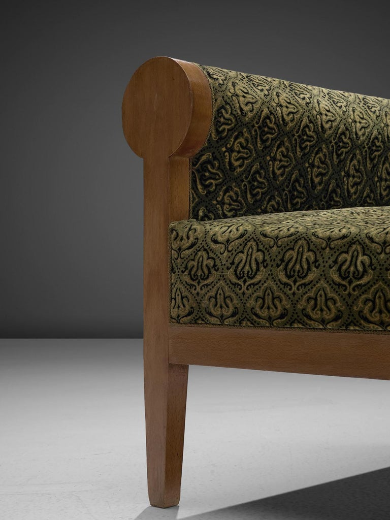Pair of Italian High Back Armchairs in Green Fabric Upholstery For Sale 1