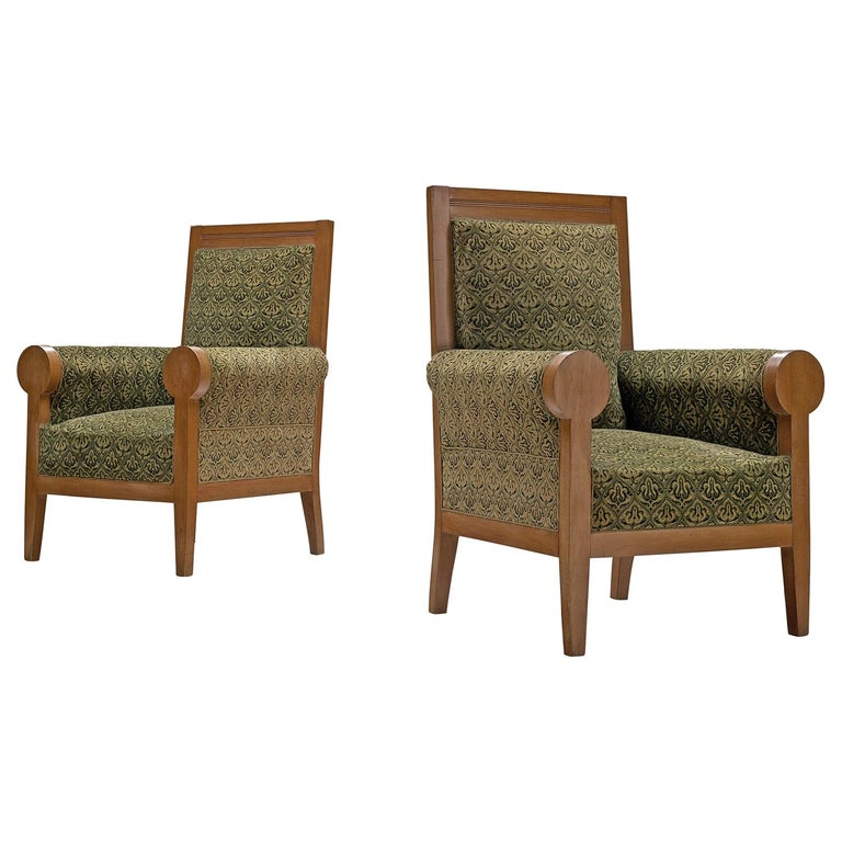 Pair of Italian High Back Armchairs in Green Fabric Upholstery For Sale