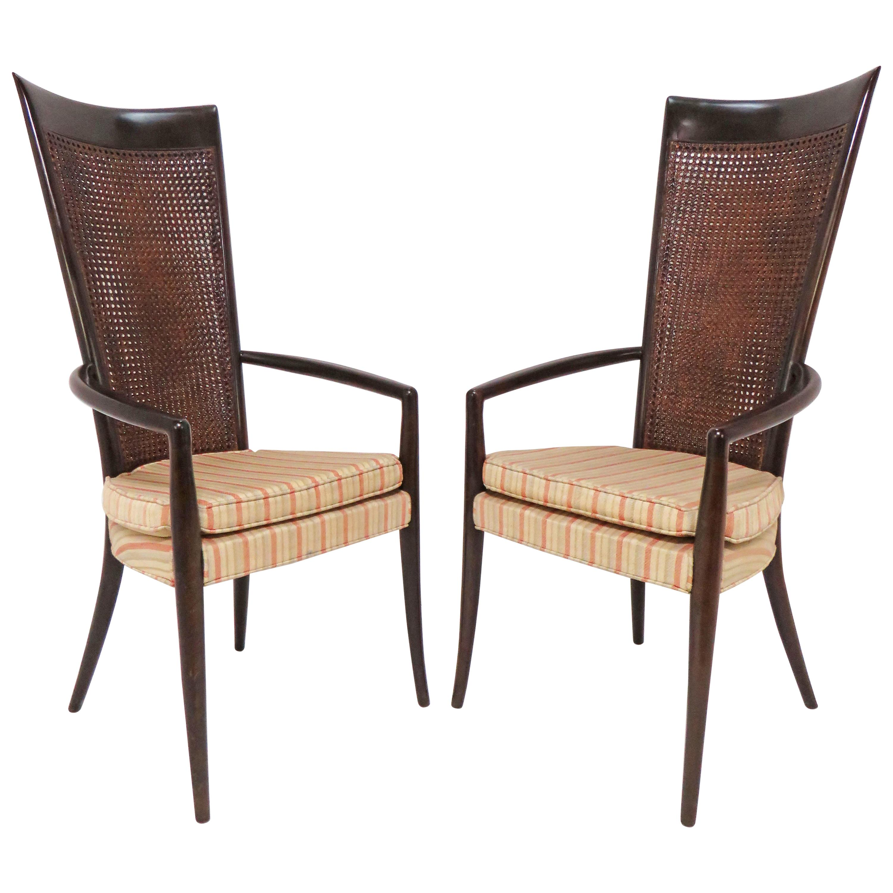 Pair of Italian High Back Armchairs in Manner of Paolo Buffa, circa 1950s