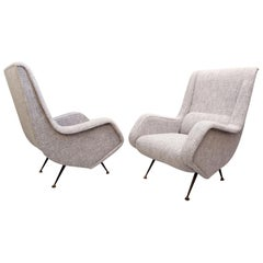 Pair of Italian High Back Armchairs, New Upholstery
