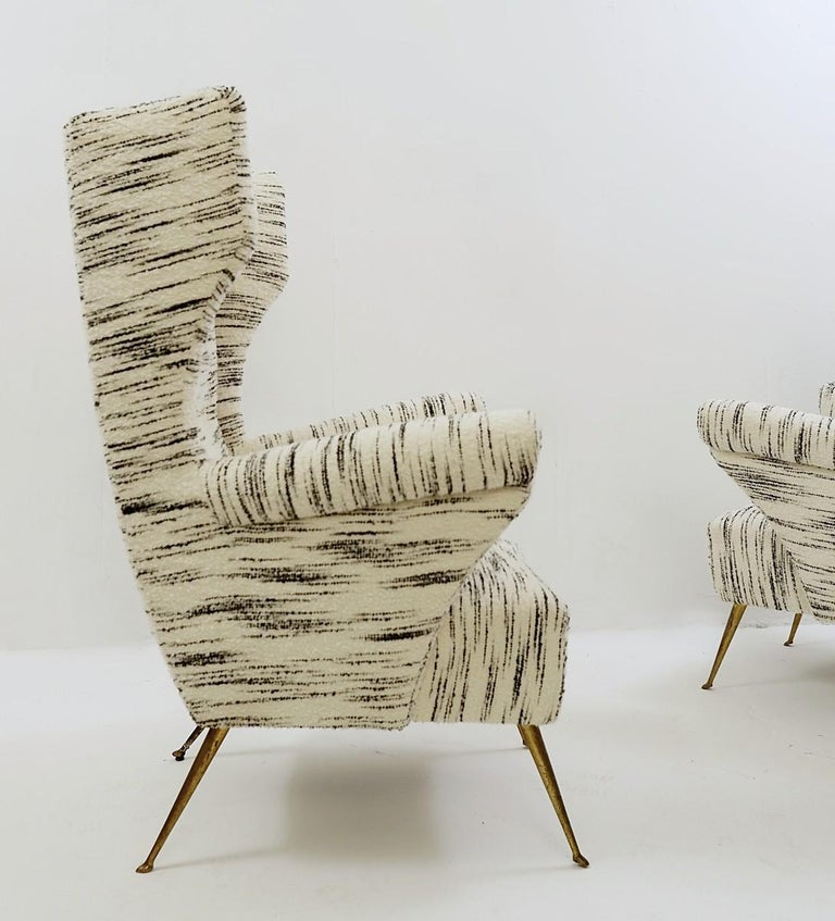 Pair of Italian Mid-Century Modern High Back Armchairs, Newly Upholstered For Sale 1