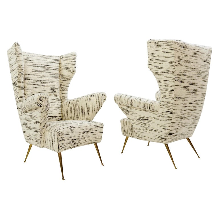 Pair of Italian Mid-Century Modern High Back Armchairs, Newly Upholstered For Sale