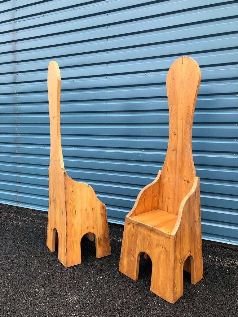 Modern Pair of Italian High Back Pine Chairs For Sale