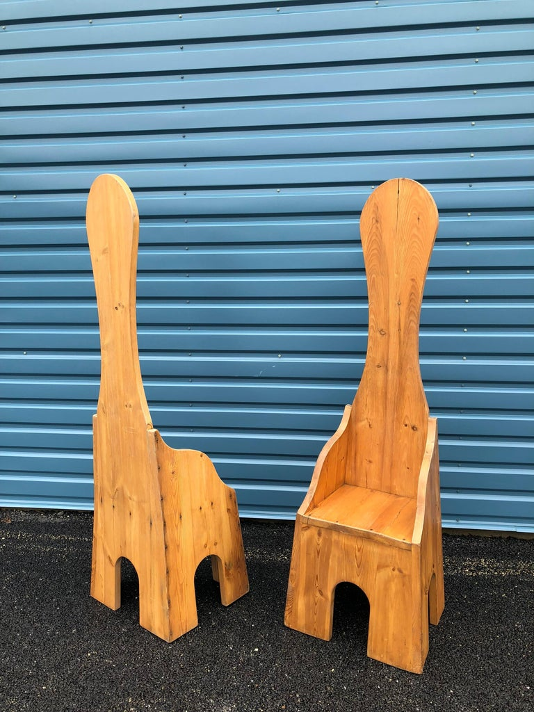 Pair of Italian High Back Pine Chairs For Sale 8