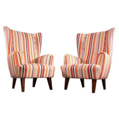 Pair of Italian High Wingback Chairs, Italy, 1950