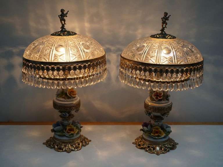 20th Century Pair of Italian Hollywood Regency Crystal Table Lamps For Sale