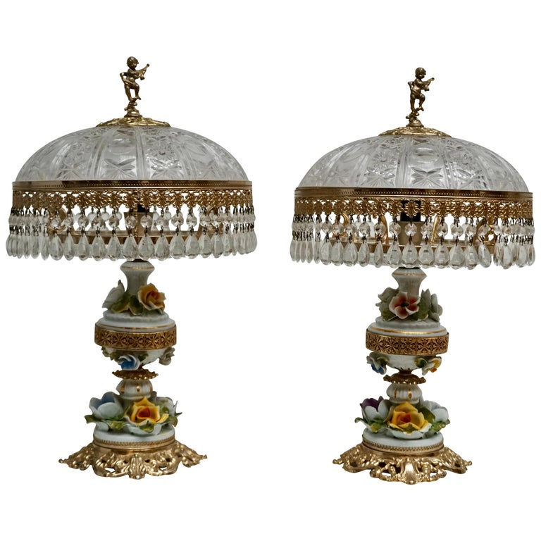 Pair of Italian Hollywood Regency Crystal Table Lamps For Sale
