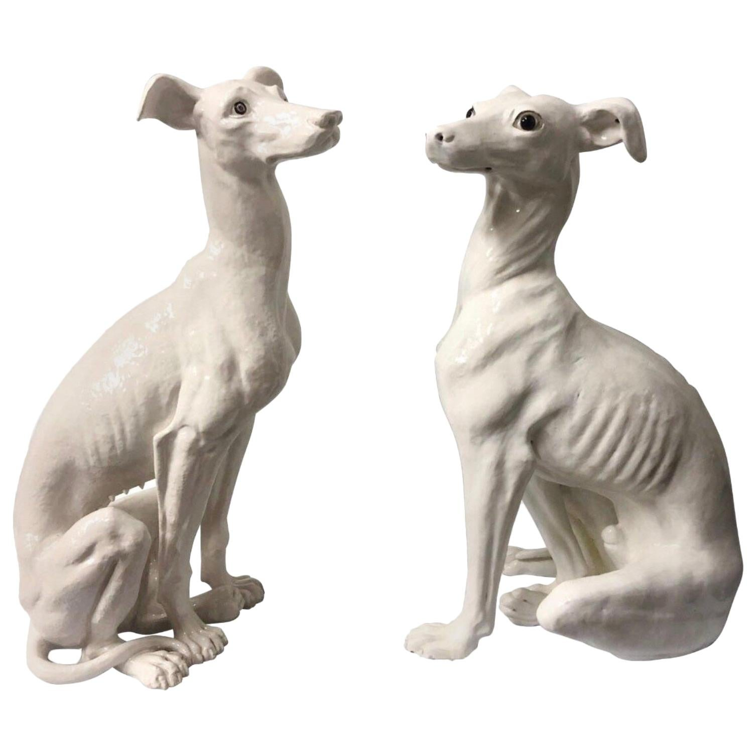 Pair of Italian Hollywood Regency Era Life-Size Italian Terracotta Whippets