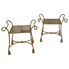 Pair of Italian Hollywood Regency Gilt Meal Rope and Tassel Motif Benches