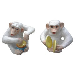 Pair of Italian Hollywood Regency Glazed Terra-Cotta Monkey Figures