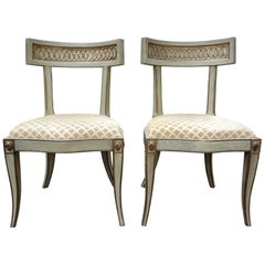 Pair of Italian Hollywood Regency Klismos Chairs
