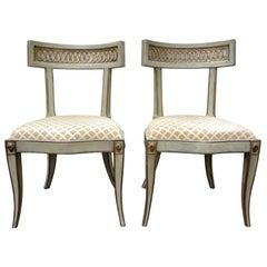 Pair of Italian Hollywood Regency Klismos Chairs