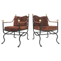 Pair of Italian Hollywood Regency Savonarola Chairs