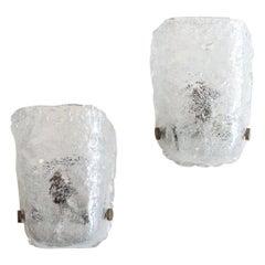 Pair of Italian Ice Glass Sconces