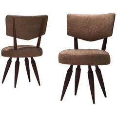 Pair of Italian Ico Parisi Style Bedroom Chairs, 1950s