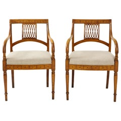 Pair of Italian Inlaid Armchairs