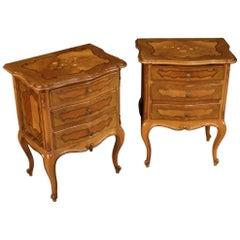 Pair of Italian Inlaid Bedside Tables, 20th Century