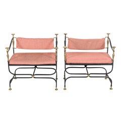 Pair of Italian Iron and Brass Savonarola Chairs with Loose Cushions
