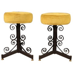 Pair of Italian Iron Stools with Velvet Seats, 20th Century