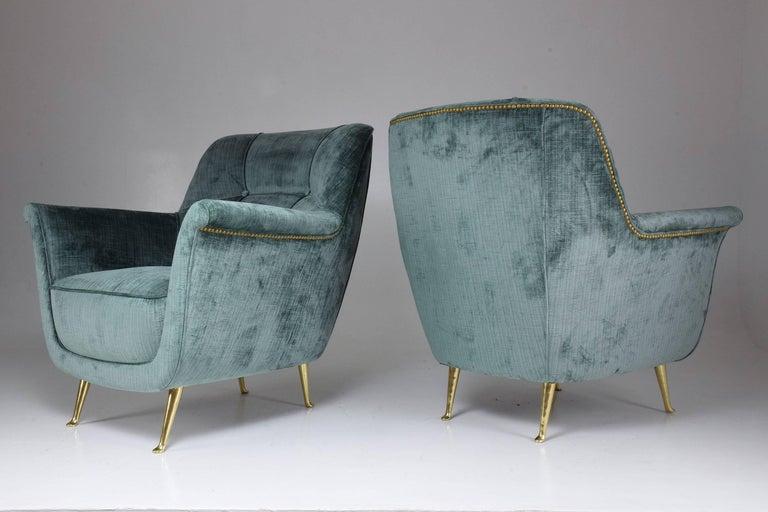 Pair of Italian Midcentury Armchairs by ISA Bergamo, 1950s For Sale