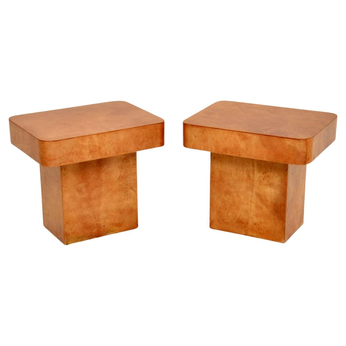 Pair of Italian Lacquered Parchment Side Tables by Aldo Tura