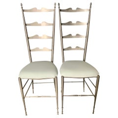 Pair of Italian Ladder Back Chiavari Chairs in Silver Metal